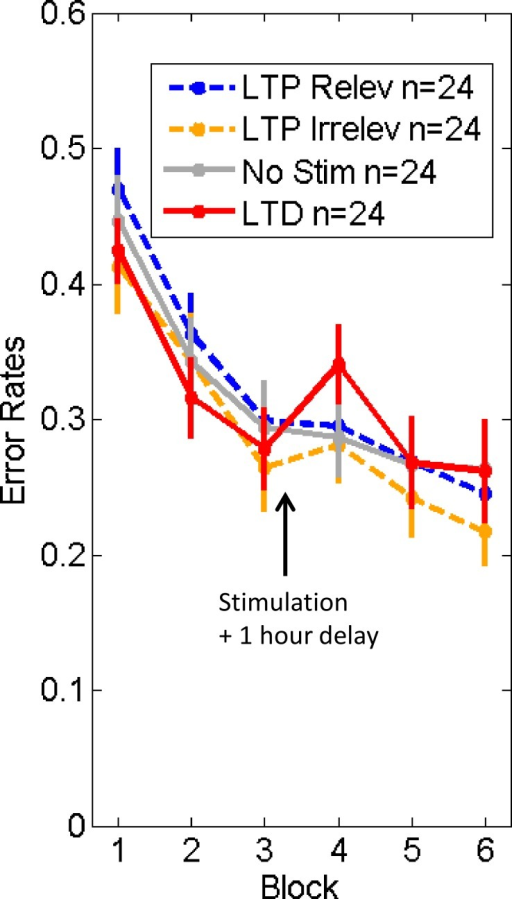 Experiment 3 (one hour delay post-stimulation).Error rates on 'competitive trials' for each stimulation condition: LTP relev = high-frequency relevant stimulation (face identity changes); LTP irrelev = high-frequency irrelevant stimulation (head orientation changes); No Stim = control group (without stimulation); LTD = low-frequency relevant stimulation (face identity change). See Results. Error bars = +/- 1 SEM across subjects.