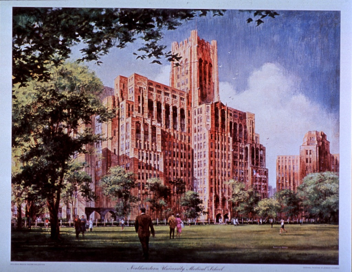 <p>Exterior view: people are walking on the grass in front of the gothic 20 story Montgomery Ward Memorial Building; a fence is between the building and the grass; a stand alone double archway is on the side of the building.</p>