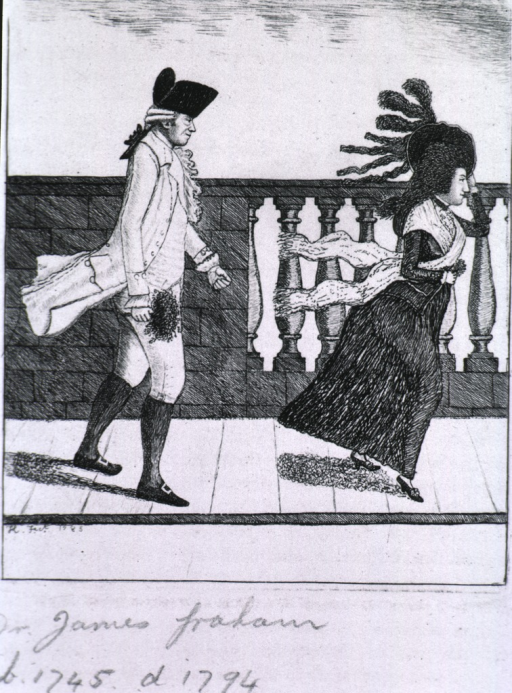 <p>Full length, right profile, wearing hat and coat, and carrying a bouquet of flowers. Ahead of him on the bridge is a young woman, holding onto her hat in the high wind.</p>