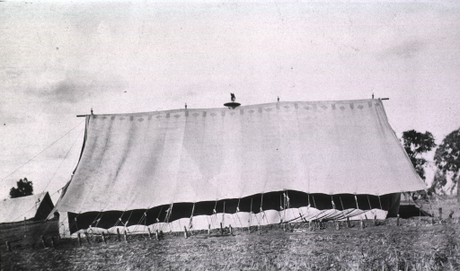<p>A side view of a tent at the Division Field Hospital.</p>