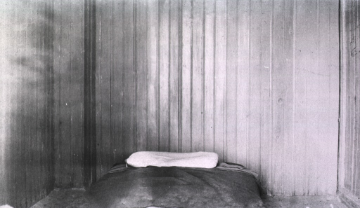 <p>A view of an empty bed in the insane ward at the Naval Hospital.</p>