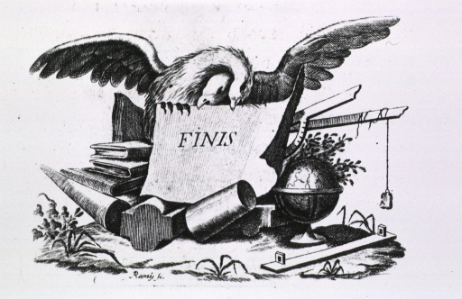 <p>Tail-piece to text: two birds are holding a paper announcing the end of the text; books, globe, geometric models, and other equipment are present.</p>