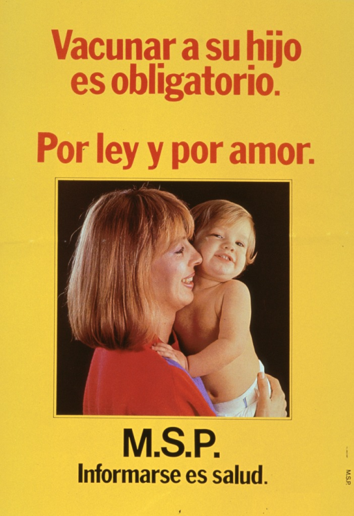 <p>Yellow poster with red and black lettering.  Title at top of poster.  Visual image is a reproduction of a color photo showing a woman holding her baby.  Both are smiling.  Note below photo.</p>