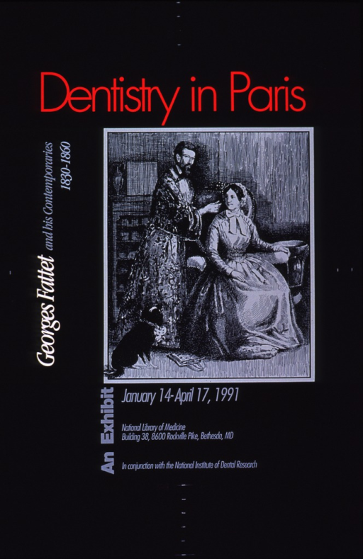 <p>Predominantly black poster with multicolor lettering announcing an exhibit held Jan.-Apr. 1991.  Initial title phrase at top of poster.  Remaining title text on left side.  Visual image is an illustration of a man wearing a robe.  He stands next to a woman who is sitting in a chair.  His hand is near her mouth.  Exhibit details and sponsor information below illustration.</p>