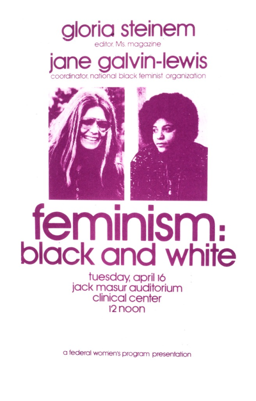 <p>Portraits of Gloria Steinem and Jane Galvin-Lewis appear above the title in shades of purple.  The date of the lecture is Apr. 16.</p>