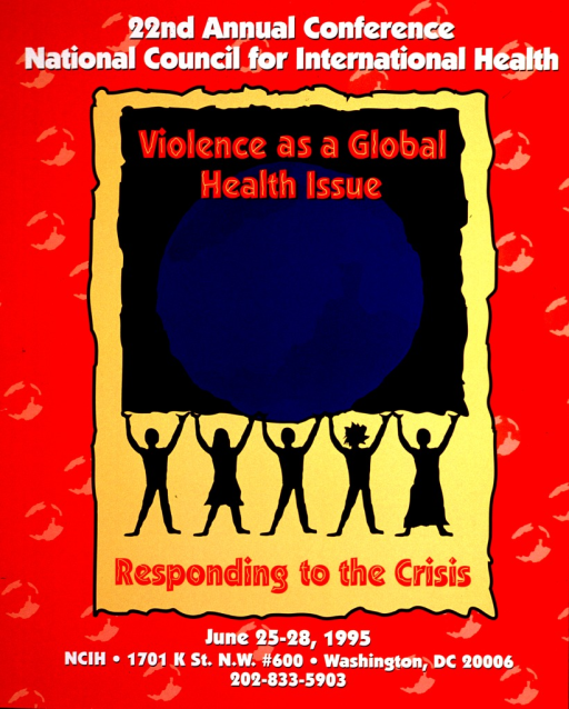 <p>Predominantly red and yellow poster with red and white lettering.  Conference announcement at top of poster.  Visual image is a slightly abstract illustration of the Earth, which is held aloft by five silhouette human figures.  Title superimposed on illustration.  Conference dates and publisher information at bottom of poster.</p>