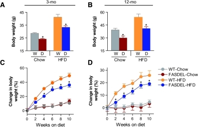 Postnatal FASDEL mice do not catch up in weight despite high fat feeding. A and B: Body weight on standard chow and HFD at 3 (A) and 12 (B) months of age. D, FASDEL; W, wild type. C and D: Percent change in body weight over the 10-week HFD feeding period at 3 (C) and 12 (D) months. Results are means ± SE of 8–10 animals per group. *P < 0.05 vs. the corresponding wild-type mice. C and D: ▵, wild type/standard chow diet; ▴, FASDEL/standard chow diet; ○, wild type/HFD; •, FASDEL/HFD.