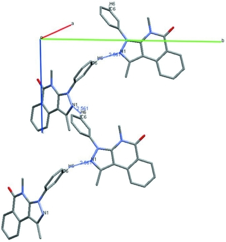 Intermolecular interactions of the title compound, showing the molecular chains along the c axis. Hydrogen bonds are shown as dashed lines.