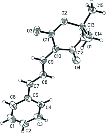 The molecular structure of (I), drawn with 30% probability ellipsoids and spheres of arbritrary size for the H atoms.