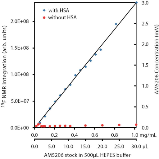 Integration of 19F-NMR signals from AM5206 in HEPES buffer with HSA (blue squares) and without HSA (red circles). The two horizontal axes represent the actual amount of AM5206 stock solution (50 mM in DMSO) added and the corresponding amount of AM5206 in the NMR sample (mg/mL). The vertical axis on the right shows the concentration of the soluble portion of AM5206.