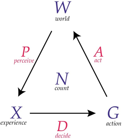 A diagram of a conscious agent. A conscious agent has six components as illustrated here. The maps P, D, and A can be thought of as communication channels.