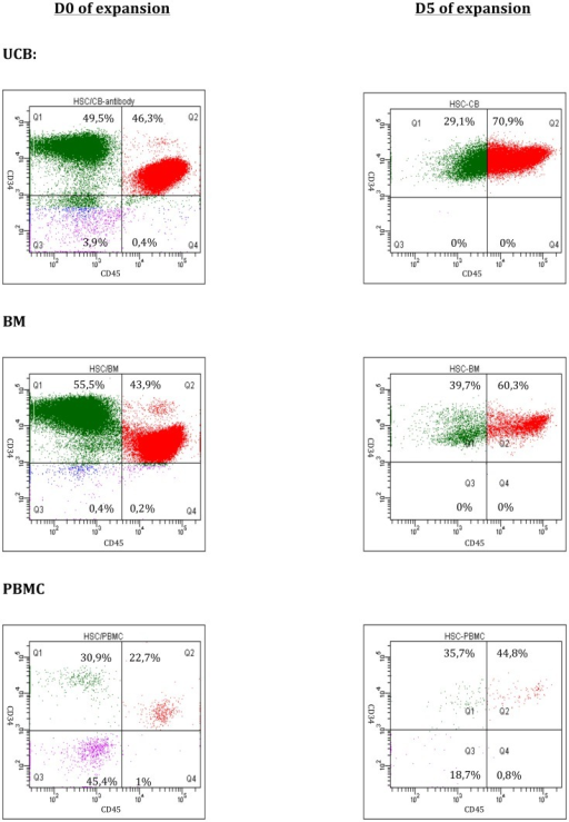 FACS analyses of the CD34+/CD45+ cells from UCB, PBMNC and BM, after isolation (Day 0) and following 5 days of expansion.The Q2 gate represents the population double positive for CD34 (APC) and CD45 (PE).