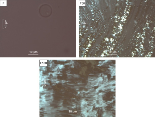 Photomicrographs of the F, F30, and F100 formulations.Note: Magnification 20×.