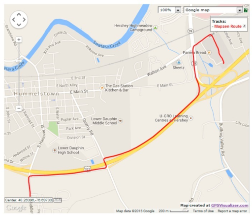 OpenStreetMap route for verification dataset 2.