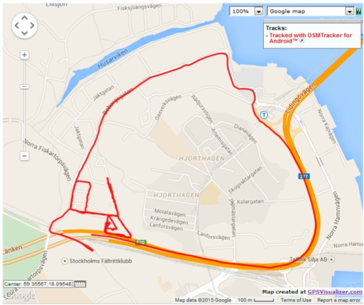 OpenStreetMap route for verification dataset 3.