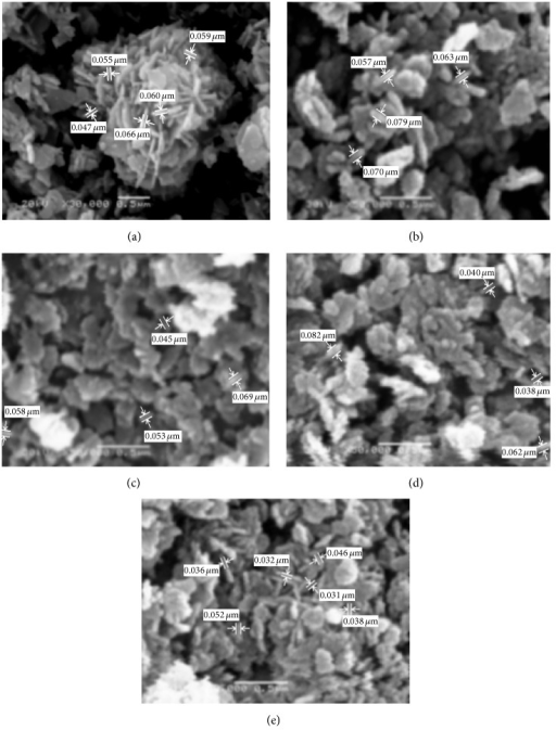 SEM micrographs of ZnO prepared using sol-gel technique with different reaction times: (a) 3 h, (b) 6 h, (c) 12 h, (d) 24 h, and (e) 48 h.
