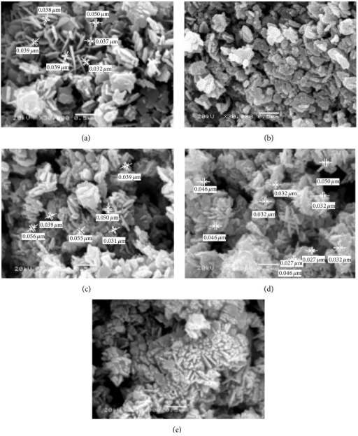 SEM micrographs of ZnO prepared using hydrothermal technique with different reaction times: (a) 3 h, (b) 6 h, (c) 12 h, (d) 24 h, and (e) 48 h.