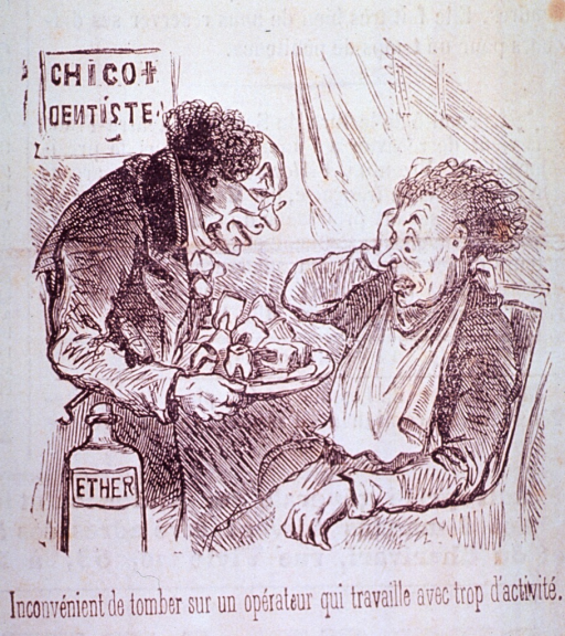 <p>A dental patient is startled when the dentist shows him a platter full of teeth that he has extracted; a bottle of ether stands in the foreground.</p>