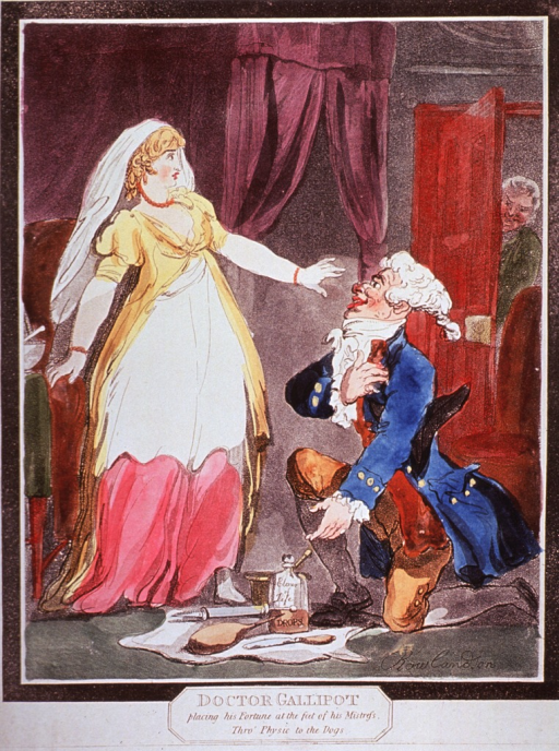 <p>A physician is down on one knee before a young woman; on a piece of paper spread on the floor are a bottle, a clyster, and other instruments; the young woman is startled by someone coming through a door in the background.</p>