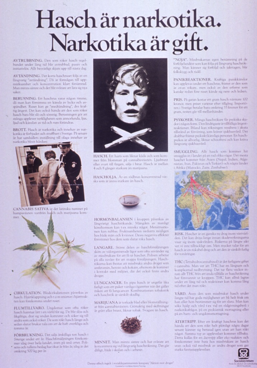 <p>Predominantly white poster with black lettering.  Title at top of poster.  Poster dominated by text describing the adverse effects of hashish on the body and the problems of the drug trade in society.  Visual images include an illustration of a man's face and two marijuana cigarettes, color photo reproductions of a man being searched at customs, a stalk from a cannabis plant, a liquid, and some marijuana.  A small map depicts smuggling routes into Sweden.  Publisher information at bottom of poster.</p>