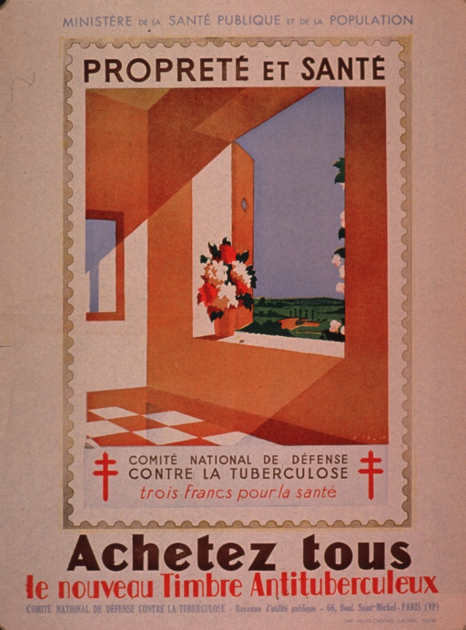 <p>Discolored white poster with multicolor lettering.  Sponsor information at top of poster.  Visual image is an illustration of an antituberculosis stamp.  The stamp shows the sun streaming in an open window, casting its light on a spotless room.  Note text at bottom of stamp.  Caption below illustration urges everyone to buy the new stamp.  Publisher information at bottom of poster.</p>