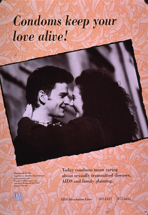<p>Predominantly peach poster with black lettering.  Title at top of poster.  Visual image is a b&amp;w photo reproduction featuring a male-female couple in an embrace.  Caption and publisher information below photo.  Note near lower left corner.</p>
