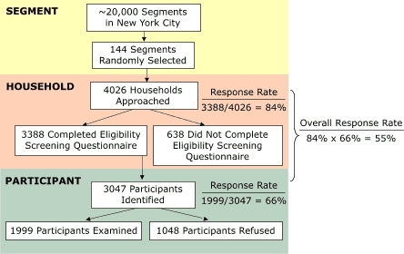 Sample design and participation rates of the New York City Health and Nutrition Examination Survey, 2004.
