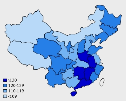 Fig 1 Sex ratio in 1-4 year age group: all China's provinces