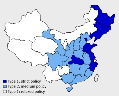 Fig 2 Variation in implementation of the one child policy15