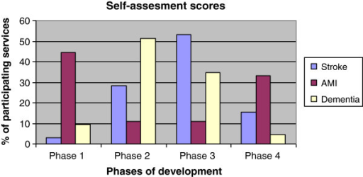 Self-assessed phase for three types of services.