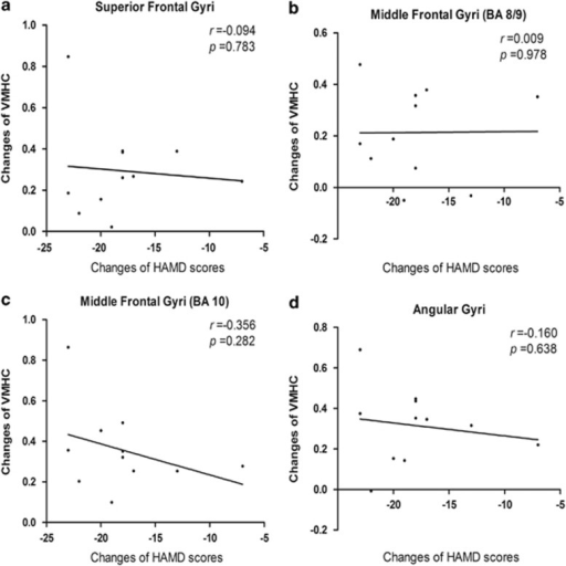 The correlation between changes of Hamilton Depression Rating Scale (HAMD) scores and changes of voxel-mirrored homotopic connectivity (VMHC). (a) There was no significant correlation between the changes of HAMD scores and the changed VMHC values in superior frontal gyri (BA 8) (r=−0.094; P=0.783). (b) There was no significant correlation between the changes of HAMD scores and the changed VMHC values in the middle frontal gyri (BA 8/9) (r=0.009; P=0.978). (c) There was no significant correlation between the changes of HAMD scores and the changed VMHC values in the middle frontal gyri (BA 10) (r=−0.356; P=0.282). (d) There was no significant correlation between the changes of HAMD scores and the changed VMHC values in angular gyri (BA 39) (r=−0.160; P=0.638).