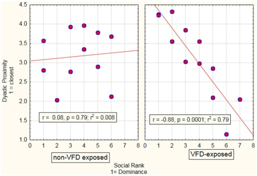 Relationship between maternal–infant proximity as a function of maternal social rank in VFD-exposed versus non-exposed dyads. A general linear model was performed with VFD exposure as the categorical variable, maternal social rank as the predictor variable and maternal–infant dyadic distance as the dependent variable. A significant interactive term of VFD exposure × maternal social rank [F(1; 19) = 11.97; p = 0.003] indicated that predictive effects of social rank on dyadic proximity were specific to VFD mothers with low-social rank predicting decreased dyadic distance (see figure for respective Pearson's correlations).