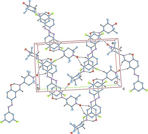 Part of the crystal structure, viewed down [001]. Intra­molecular O—H⋯N and inter­molecular C—H⋯O and C—H⋯F hydrogen bonds, which enclose (6) ring motifs, are shown as dashed lines. H atoms not involved in these hydrogen bonds have been omitted for clarity.