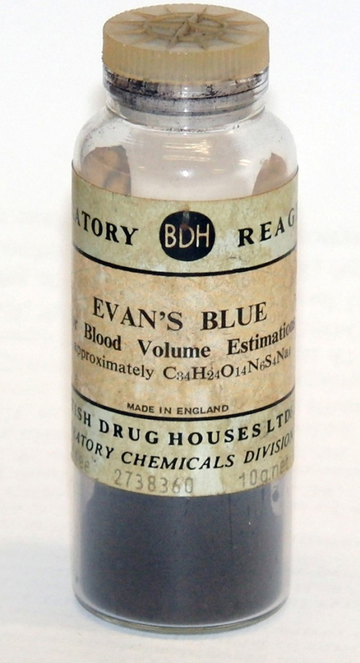 Evans blue. As used at University College London, Department of Physiology circa 1960 for in vivo plasma volume estimation.