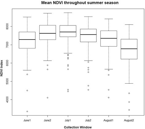 Boxplot demonstrating mean NDVI and its variance throughout summer. MODIS satellites retrieve imagery from the study site every 16 days, twice each month. The 6 boxplots present the average and variance of Normalized Difference Vegetation Index (NDVI) values for each photoperiod. These averages and variances are calculated from NDVI values reported at all clusters identified. The first reporting period of July (July1) has the highest mean and the lowest variance making it the best choice for a parameter demonstrating relative productivity of each cluster. The higher variance early and late in the season is likely due to timing variation of snow melt, growth, and die-off along elevation and cover gradients all of which influence NDVI values.