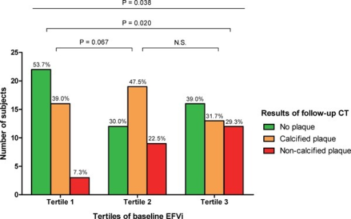 Impact of EFVi on the development of coronary plaqueThe development of NCP on follow-up CT was observed more frequently among participants with increased EFVi at baseline. P-values were calculated by the χ2 test.Abbreviations: EFV, epicardial fat volume; CT, computed tomography; NCP, non-calcified plaque.