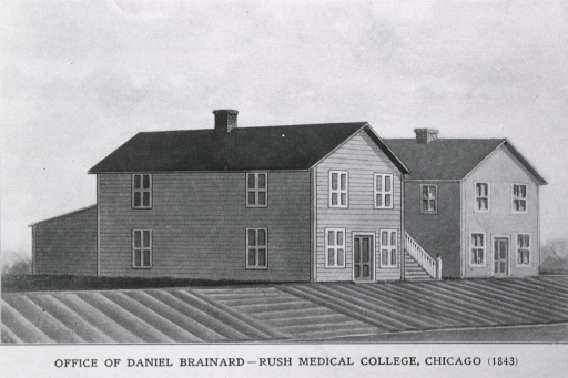 <p>Exterior view: drawing of two buildings with a stairway between them.  There is an addition to the back of the building in the foreground.</p>