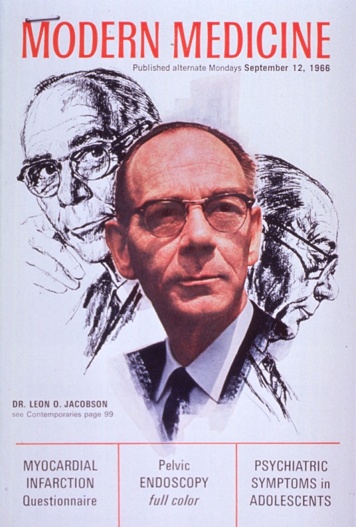 <p>Head and shoulders, full face; wearing glasses; also drawings: head and shoulders, right profile and full face in background.</p>