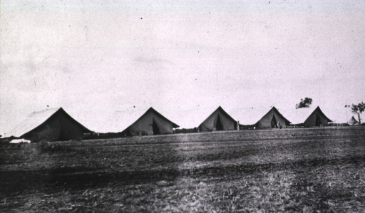 <p>A row of tents at the Division Field Hospital.</p>
