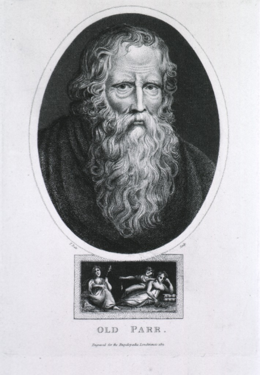 <p>Head and shoulders, full face, long beard; vignette with three small figures.</p>