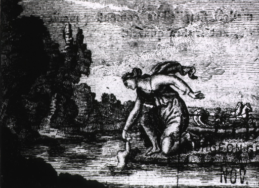 <p>Allegorical scene: a woman is holding an infant by the heel and dipping him into a lake.</p>