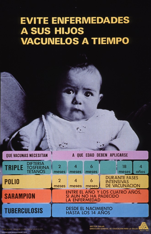 <p>Predominantly black poster with yellow and black lettering.  Title at top of poster.  Visual image is a reproduction of a b&amp;w photo of a baby wearing a bib.  A colorful immunization schedule is superimposed on the photo, in the lower portion of the poster.  Publisher information and logo in lower right corner.</p>