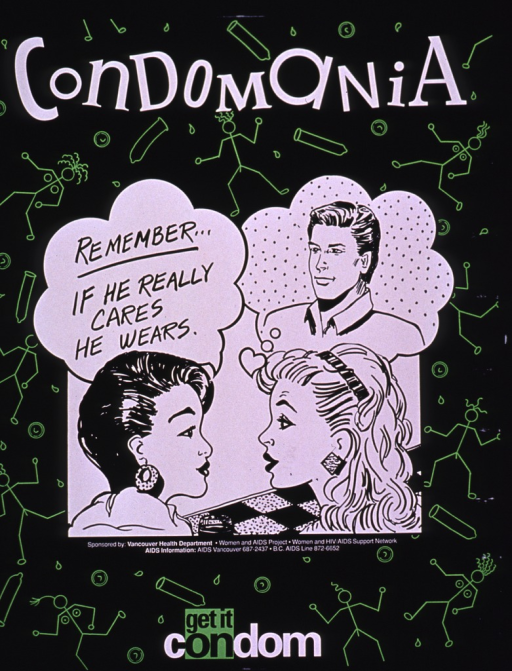 <p>Predominantly black poster with white and black lettering.  Title at top of poster.  Dominant visual image is a cartoon-style illustration of two women speaking to each other.  Caption text spoken by one woman; the other woman is thinking about a man.  Background features color line drawings of condoms and stick figures.  Publisher information below cartoon.  Note text at bottom of poster.</p>