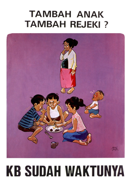 <p>White poster with black lettering. Visual image is three children sitting around a plate with very little food on it.  A child reaches for a piece of food and another child puts his hand on her arm to stop her.  A fourth child, a baby, is crying. The mother is standing nearby with a finger to her mouth and frowning.</p>