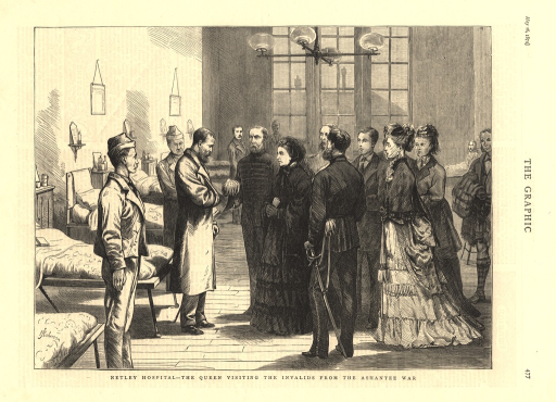 <p>Wood engraving of Queen Victoria visiting wounded soldiers in a hospital ward.  The queen stands amidst an entourage of dignitaries and ladies-in-waiting.</p>