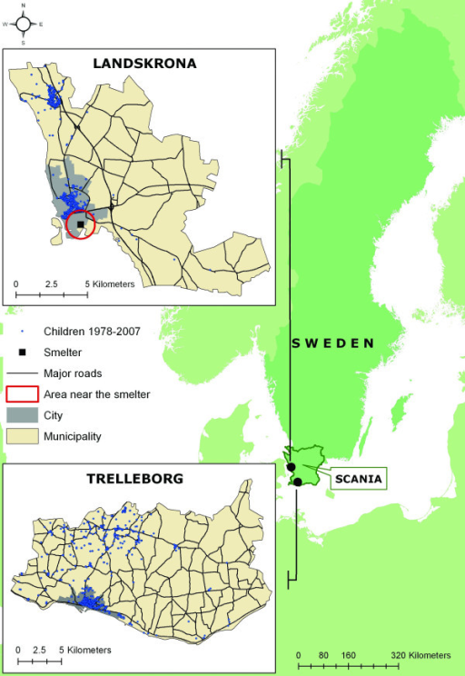 "Study location. Map showing the location of the county of Scania, and the municipalities of Landskrona and Trelleborg. The major roads in the municipalities, the location of the lead smelter in Landskrona and the location of the participating children's residences, as well as the area defined as ""near the smelter"", and city areas from previous studies."