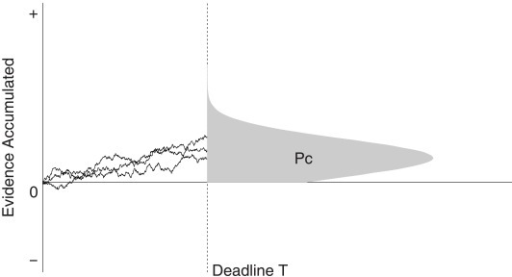 The interrogation paradigm. At deadline T, decision makers choose a response alternative depending on the sign of the evidence accumulator. The shaded area under the distribution represents the proportion of correct answers.