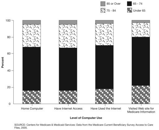 Medicare Beneficiaries' Use of Computers and the Internet, by Age: 2005Beneficiaries in the age group 65-74 comprised the largest group of computer and Internet users (approximately 52 percent).The second largest group of computer users was the age group 75-84 (approximately 27 percent).
