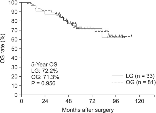 Overall survival (OS) of stage III colon cancer patients. LG, laparoscopic surgery group; OG, open surgery group.