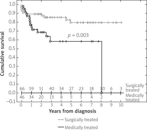 Survival curves for patients with CTEPH treated with PEA (shadow line) and who were treated by pharmacotherapy only (solid line) – reprinted from Wieteska et al. [6]